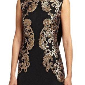 Tadashi Shoji long black/gold evening gown size 16